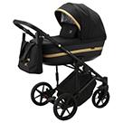 Детская коляска Adamex Rimini 2 в 1 цвет TIP RI-1 черная ткань и черная экокожа