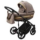 Детская коляска Adamex Rimini 2 в 1 цвет TIP RI-15 бежевая ткань и коричневая экокожа