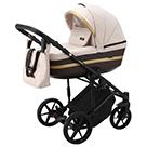 Детская коляска Adamex Rimini 2 в 1 цвет TIP RI-84 бежево-розовая ткань и тёмно-коричневая экокожа