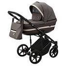 Детская коляска Adamex Rimini 2 в 1 цвет TIP RI-85 коричневая ткань и тёмно-коричневая экокожа