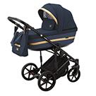Детская коляска Adamex Rimini 2 в 1 цвет TIP RI-95 тёмно-синяя ткань и тёмно-синяя экокожа