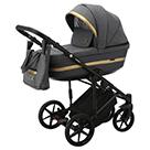 Детская коляска Adamex Rimini 2 в 1 цвет TIP RI-97 тёмно-серая ткань и тёмно-серая экокожа