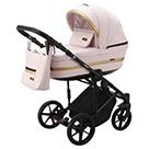 Детская коляска Adamex Rimini 2 в 1 цвет TIP RI-101 светло-розовая ткань и светло-розовая экокожа