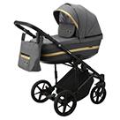 Детская коляска Adamex Rimini 2 в 1 цвет TIP RI-7 тёмно-серая ткань и тёмно-серая экокожа