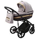 Детская коляска Adamex Rimini 2 в 1 цвет TIP RI-14 серо-розовая ткань и сливовая экокожа
