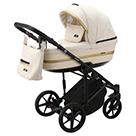 Детская коляска Adamex Rimini 2 в 1 цвет TIP RI-17 молочная ткань и молочная экокожа