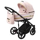 Детская коляска Adamex Rimini 2 в 1 цвет TIP RI-21 светло-розовая ткань и розовая перламутровая экокожа