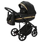 Детская коляска Adamex Rimini 2 в 1 цвет TIP RI-24 чёрная ткань с блёстками и чёрная экокожа
