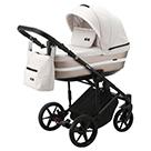 Детская коляска Adamex Rimini 2 в 1 цвет TIP RI-30 кремовая-жаккард ткань и белая перламутровая экокожа