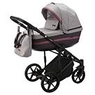 Детская коляска Adamex Rimini 2 в 1 цвет TIP RI-40 светло-розовая ткань и сливовая экокожа