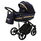 Детская коляска Adamex Rimini 2 в 1 цвет TIP RI-58 тёмно-синяя ткань и синяя перламутровая экокожа