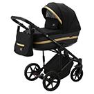 Детская коляска Adamex Rimini 2 в 1 цвет TIP RI-66 черная ткань и черная экокожа