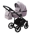 Детская коляска Adamex Bibione 2 в 1 цвет BI-PS21 серо-розовый и сиреневая экокожа