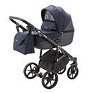 Детская коляска Adamex Bibione 2 в 1 цвет BI-PS91 темно-синий, орнамент и черная экокожа