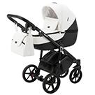 Детская коляска Adamex Bibione Deluxe 2 в 1 цвет BI-SD1 белая и чёрная экокожа