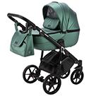 Детская коляска Adamex Bibione Deluxe 2 в 1 цвет BI-SM1 зеленая экокожа