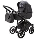 Детская коляска Adamex Bibione Deluxe 2 в 1 цвет BI-SA2 чёрная экокожа