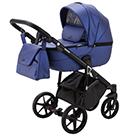 Детская коляска Adamex Bibione Deluxe 2 в 1 цвет BI-SM2 синяя экокожа