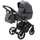 Детская коляска Adamex Bibione Deluxe 2 в 1 цвет BI-SA5 тёмно-серая экокожа