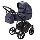 Детская коляска Adamex Bibione Deluxe 2 в 1 цвет BI-SM9 тёмно-синяя экокожа