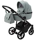 Детская коляска Adamex Bibione Deluxe 2 в 1 цвет BI-SA20 серо-зелёная экокожа