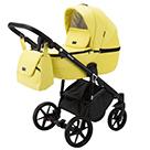 Детская коляска Adamex Bibione Deluxe 2 в 1 цвет BI-SA22 жёлтая экокожа