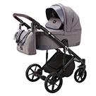 Детская коляска Adamex Marco 3 в 1 цвет GA2 тёмно-серый и тёмно-серая кожа