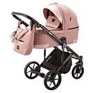 Детская коляска Adamex Marco 3 в 1 цвет GA4 тёмно-розовый и розовая кожа