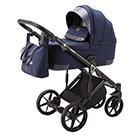 Детская коляска Adamex Marco 3 в 1 цвет GA9 тёмно-синий и тёмно-синяя кожа