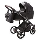 Детская коляска Adamex Marco 3 в 1 цвет GA11 чёрный и чёрная кожа