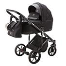 Детская коляска Adamex Marco 3 в 1 цвет GA12 чёрный и чёрная кожа