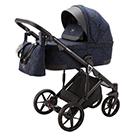 Детская коляска Adamex Marco 3 в 1 цвет GA13 чёрно-синий орнамент и чёрная кожа