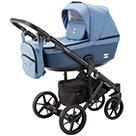 Детская коляска Adamex Emilio 2 в 1 цвет EM-208 джинс и синяя экокожа
