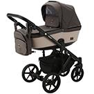 Детская коляска Adamex Emilio 2 в 1 цвет EM-210 коричневый и светло-бежевая экокожа