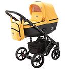 Детская коляска Adamex Emilio 2 в 1 цвет EM-219 жёлтый и чёрная экокожа