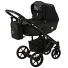 Детская коляска Adamex Emilio 2 в 1 цвет EM-238 чёрный и чёрная экокожа