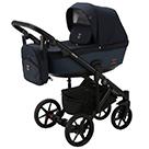 Детская коляска Adamex Emilio 2 в 1 цвет EM-242 тёмно-синий и тёмно-синяя экокожа