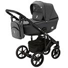Детская коляска Adamex Emilio 2 в 1 цвет EM-246 тёмно-серый и тёмно-серая экокожа