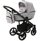 Детская коляска Adamex Emilio 2 в 1 цвет EM-248 светло-серый и светло-серая экокожа