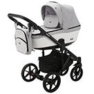 Детская коляска Adamex Emilio 2 в 1 цвет EM-249 светло-серый и белая экокожа