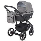 Детская коляска Adamex Emilio 2 в 1 цвет EM-255 серый и черная экокожа