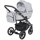 Детская коляска Adamex Emilio 2 в 1 цвет EM-257 светло-серый и серая экокожа