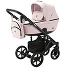 Детская коляска Adamex Emilio 2 в 1 цвет EM-259 розовый и розовая экокожа