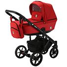 Детская коляска Adamex Emilio 2 в 1 цвет EM-264 красный и красная экокожа