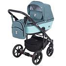 Детская коляска Adamex Emilio 2 в 1 цвет EM-265 темная бирюза и бирюзовая экокожа