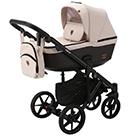 Детская коляска Adamex Emilio 2 в 1 цвет EM-267 светло-бежевый и шоколадная экокожа