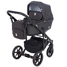 Детская коляска Adamex Emilio 2 в 1 цвет EM-270 черный и черная экокожа