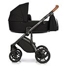 Детская коляска Roan Bass Next 2 в 1 цвет Black чёрный, коричневая ручка