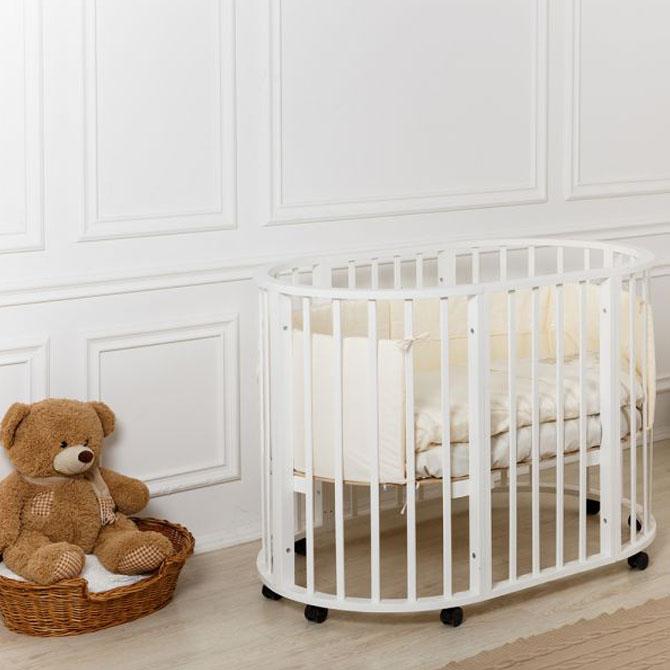 круглая овальная кроватка трансформер мой малыш николь купить в